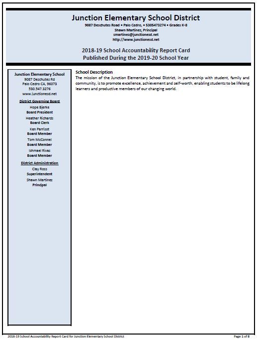 front page of school accountability report card