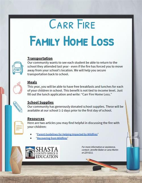 Carr Fire Notice from SCOE to Families