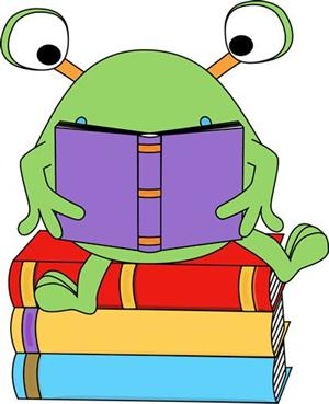 Cartoon frog with books