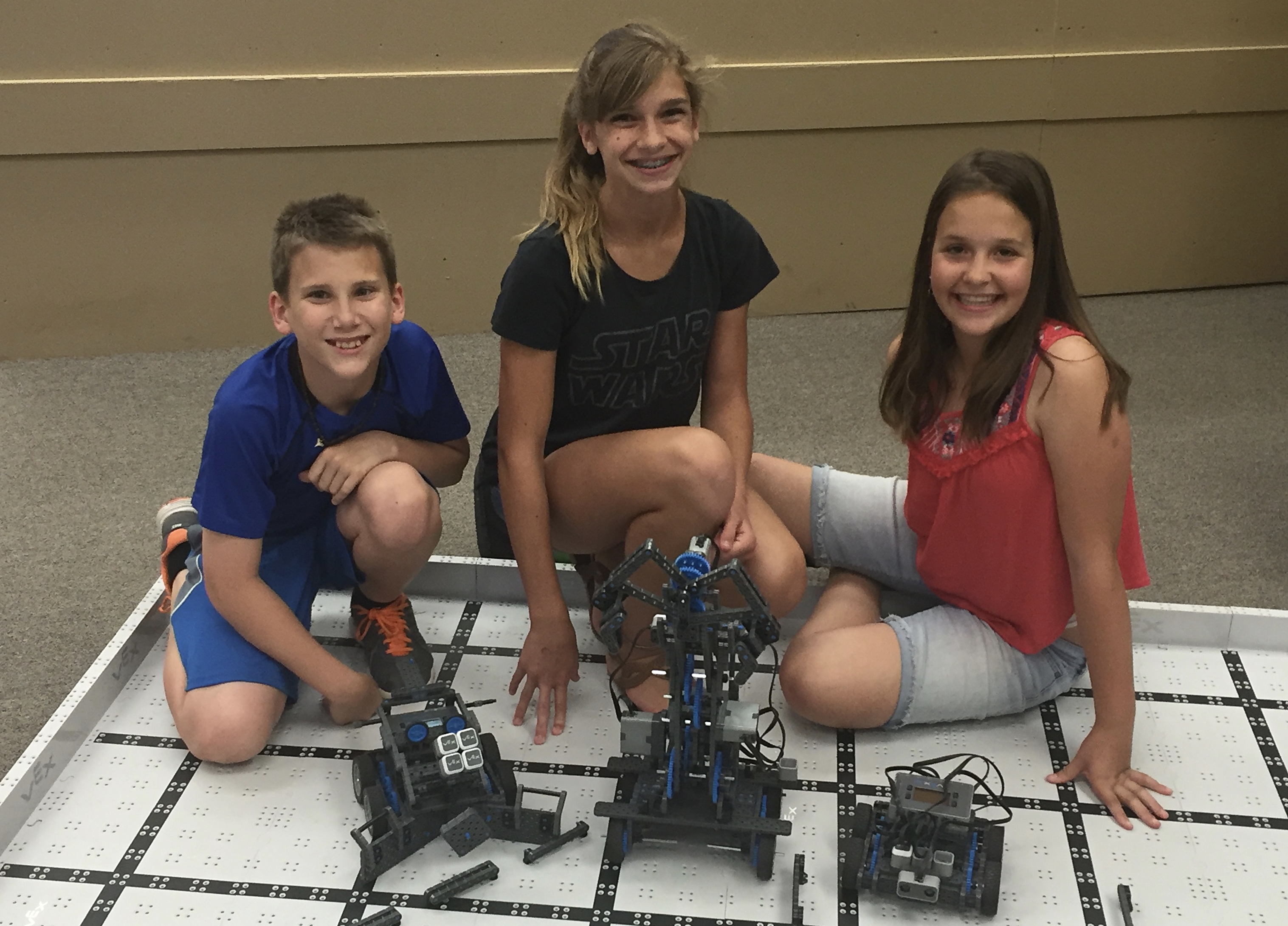 Middle School students participating in Robotics club